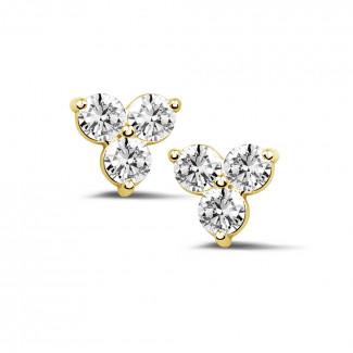 鑽石耳環 - 1.20克拉黄金三鑽耳釘