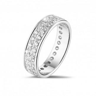 鑽石結婚戒指 - 1.15克拉白金密鑲兩行鑽石戒指