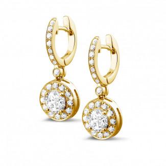 鑽石耳環 - Halo 光環1.55 克拉黄金密鑲鑽石耳環