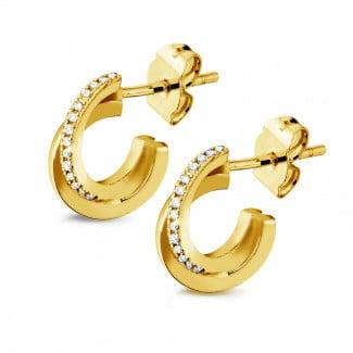 鑽石耳環 - 設計系列0.20克拉黄金鑽石耳環