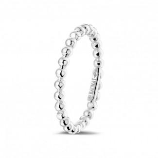 鑽石結婚戒指 - 可疊戴串珠白金戒指