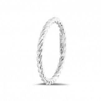 鑽石結婚戒指 - 可疊戴螺旋白金戒指