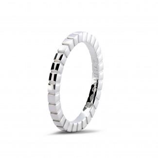 鑽石結婚戒指 - 可疊戴白金格子戒指