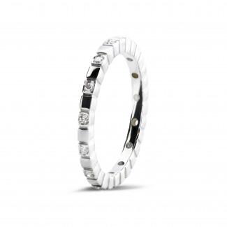 圓形鑽石婚戒 - 0.07克拉可疊戴白金鑽石格子戒指