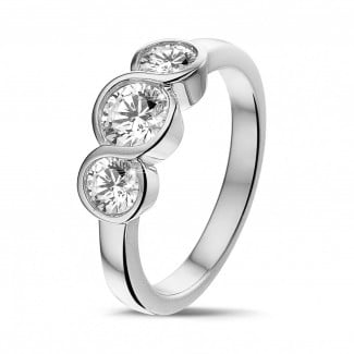 鑽石求婚戒指 - 愛情三部曲0.95克拉三鑽白金戒指
