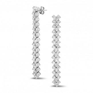 高定珠寶 - 5.80 克拉白金鑽石編織紋耳釘