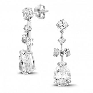 高定珠寶 - 7.00 克拉白金圓形與梨形鑽石耳釘