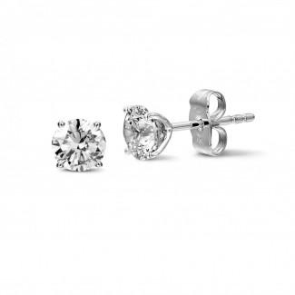 鑽石耳環 - 2.00克拉4爪白金耳釘,鑲有品質卓越的圓鑽(D-IF-EX)