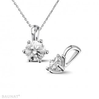 鑽石項鍊 - 1.00克拉白金吊墜,鑲有品質卓越的圓鑽(D-IF-EX)