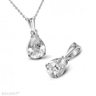 鑽石項鍊 - 1.00克拉白金吊墜,鑲有品質卓越的梨形鑽石(D-IF-EX)
