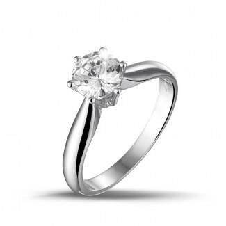 高定珠寶 - 1.00克拉白金戒指,鑲有品質卓越的圓鑽(D-IF-EX)