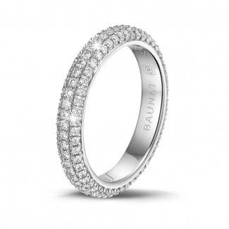 鑽石戒指 - 0.85克拉白金密鑲鑽石戒指