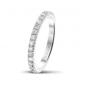 鑽石結婚戒指 - 0.55克拉白金鑲鑽婚戒(滿鑲)