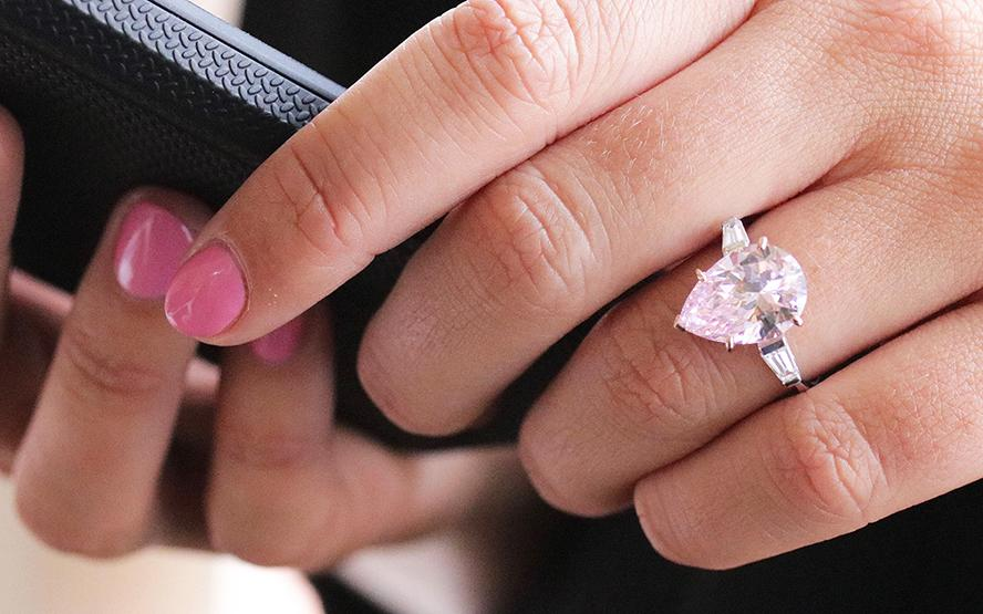 Ring with pink pear shaped diamond by BAUNAT