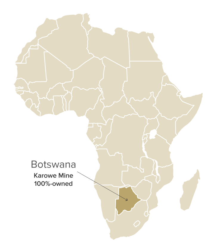 Botswana map shows the Karowe mine - BAUNAT