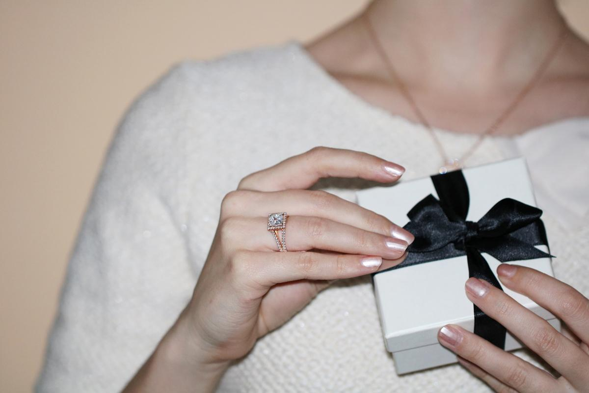 A beautiful diamond engagement ring, created by BAUNAT, smart gifting in every way.