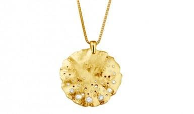 Diamond necklace in yellow gold with small round diamonds²