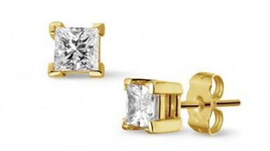 Golden diamond studs