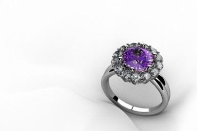 Authentic vintage ring with a coloured gemstone.
