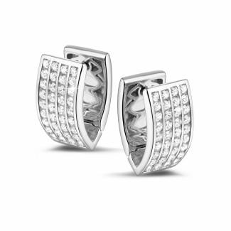 钻石耳环 - 1.20克拉白金密镶钻石耳钉
