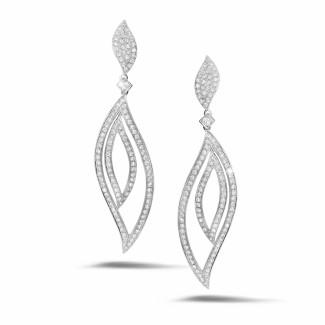 圆形钻石耳环 - 2.35克拉白金密镶钻石耳环