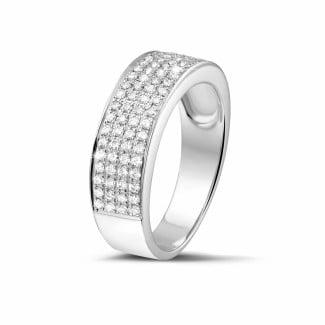 圆形钻石婚戒 - 0.64克拉白金密镶钻石戒指