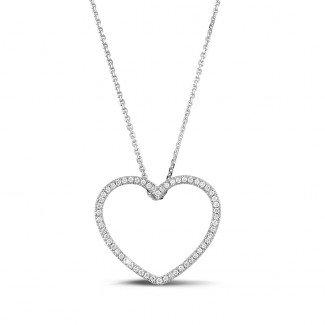 铂金钻石项链 - 0.45克拉铂金钻石心形吊坠项链