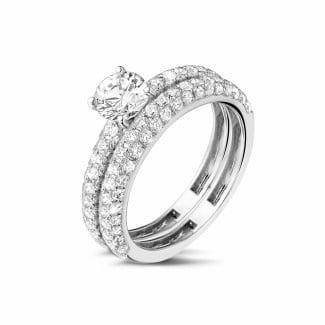 现代婚戒 - 0.70克拉白金单钻戒指 - 戒环密镶半圈三行碎钻 - 订婚/结婚套戒