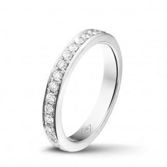 金钻石婚戒 - 0.68 克拉白金密镶钻石戒指
