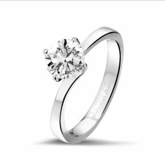 白金钻石求婚戒指 - 0.90克拉白金单钻戒指