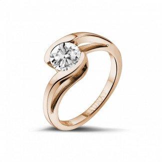 玫瑰金钻石求婚戒指 - 1.00克拉玫瑰金单钻戒指