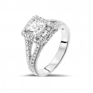 光环围镶戒指 - 1.00克拉白金公主方钻戒指 - 戒托群镶小钻