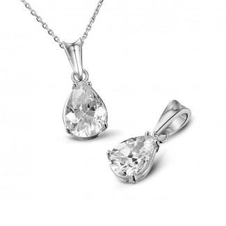 钻石项链 - 1.00克拉梨形钻石白金吊坠