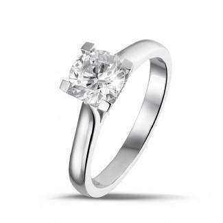 高定珠宝 - 1.00克拉白金戒指,镶有品质上乘的圆钻(D-IF-EX)