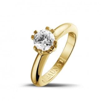 钻石戒指 - 设计系列 0.90克拉八爪黄金钻石戒指
