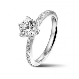 新品 - BAUNAT Iconic 系列 1.00克拉白金圆钻戒指 - 戒托半镶小钻