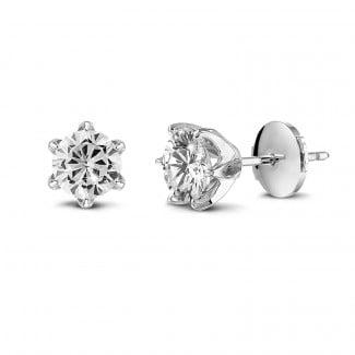 圆形钻石耳环 - BAUNAT Iconic 系列 2*1.00克拉白金圆钻耳钉