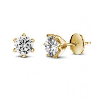 钻石耳环 - BAUNAT Iconic 系列 2*1.00克拉黄金圆钻耳钉