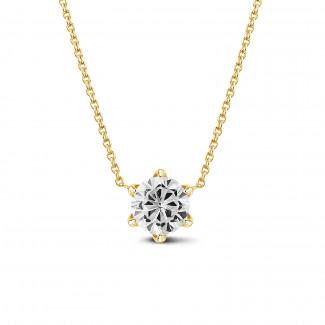 钻石项链 - BAUNAT Iconic 系列 1.00克拉黄金圆钻吊坠项链