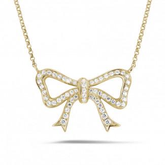 钻石项链 - 黄金钻石蝴蝶结项链