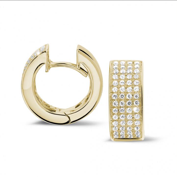 0.75克拉黄金密镶钻石耳环