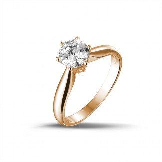 - 0.90克拉玫瑰金单钻戒指