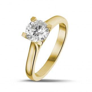 黄金钻石求婚戒指 - 0.90克拉黄金单钻戒指