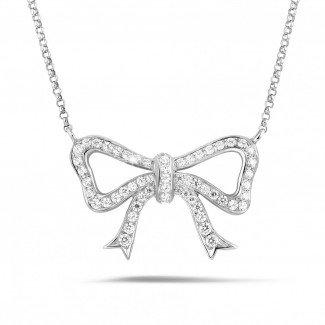 铂金钻石项链 - 铂金钻石蝴蝶结项链