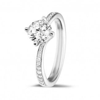 热卖 - 1.00克拉白金单钻戒指 - 戒托群镶小钻