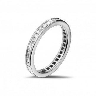 白金钻石求婚戒指 - 0.90克拉公主方钻白金永恒戒指