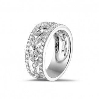 热卖 - 0.35克拉花式密镶白金钻石戒指