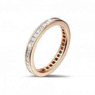 玫瑰金钻石求婚戒指 - 0.90克拉公主方钻玫瑰金永恒戒指