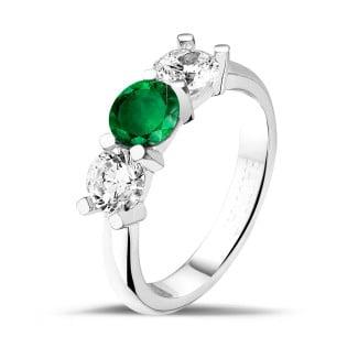 钻石戒指 - 三生恋祖母绿宝石白金钻戒