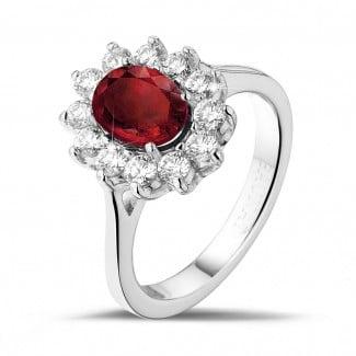 红宝石戒指 - 白金红宝石群镶钻石戒指